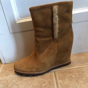Authentic UGG shearling wedge boots